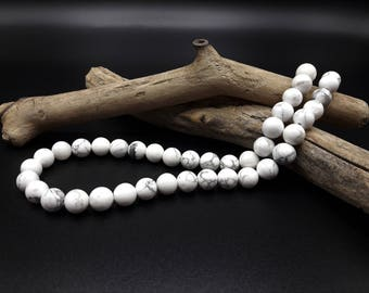 Beads Howlite natural Blanche - 8 mm - Lot 25/50 white beads - Howlite beads 8 mm - A188
