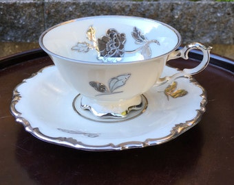 Vintage German Silver Rose Tea Cup; Waldershof Bavaria; Silver Trim & Accents on White Porcelain; Shipping Included to US and Canada