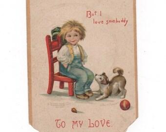 To My Love. Antique Valentine's Day postcard. 1909 antique collectible ephemera.