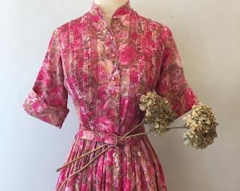 Pink roses shirtwaist dress * Vintage 1950s belted dress * 50s cotton shirt dress