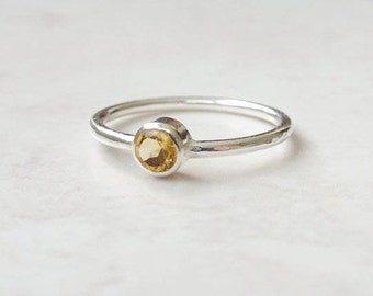 Silver Citrine Ring - Delicate Silver Ring - Yellow Stone Ring - Citrine Gemstone Ring - Delicate Stacking Ring