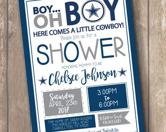 Dallas Cowboys Football Inspired Baby Shower Invitation - FREE SHIPPING