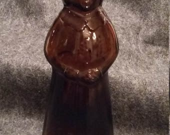 "Vintage Aunt Jemimah Mrs. Butterworth Amber Glass Syrup Bottle Measures 8-1/3"" tall No. 29"