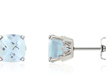 14K White Gold Cushion-Cut Genuine Blue Aquamarine Gemstone Stud Earrings - 1.5ct - 6x6mm - March Birthstone - Handmade Gift For Her