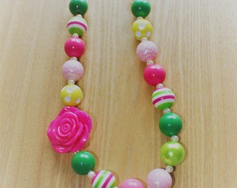 Pink and Green Chunky Bead Necklace, Watermelon Inspired
