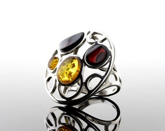 Multi Stone Ring, Flower Ring, Flower Stone Ring, Ring Size 6.5, Vintage Ring, Multi Stone Vintage Flower Ring, Stone Vintage Ring, Vintage