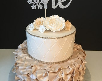 One Winter Wonderland Glitter Birthday Cake Topper, Winter Wonderland Cake Topper, First Birthday Topper, Snowflake Cake Topper