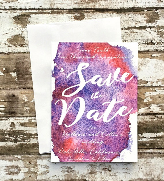 Save the date cards, set of 10 printed handmade wedding cards, purple watercolor save the dates, red wedding invitations, simple invites