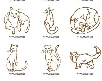 Outline-Cats. ( 10 Machine Embroidery Designs from ATW )