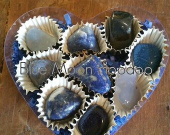 Blue Heart Gemstone Box, 9 blue tumbled gemstones packaged for Valentine's Day