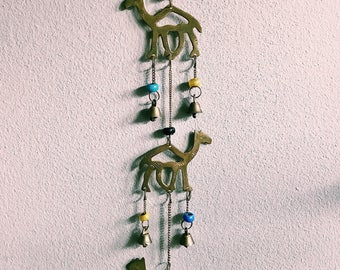 Vintage Brass Camel Wind Chime w/ Bells