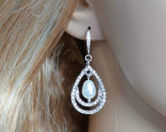 Handmade Vintage Inspired Crystal Rhinestone & Pearl Teardrop Dangle Earrings, Bridal, Wedding (Pearl-162)