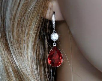 Handmade Ruby Red Swarovski Siam Pear Crystal Dangle Earrings, Bridal, Wedding (Sparkle-2540)