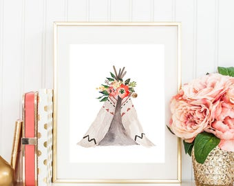 Teepee Watercolor Digital Print Instant Art INSTANT DOWNLOAD Printable Wall Decor