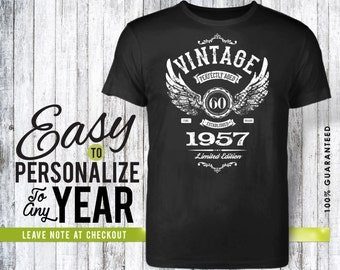 60th birthday, 60th birthday gifts for men, 60th birthday gift, 60th birthday tshirt, 1957, 60th birthday gift for women, vintage 1957