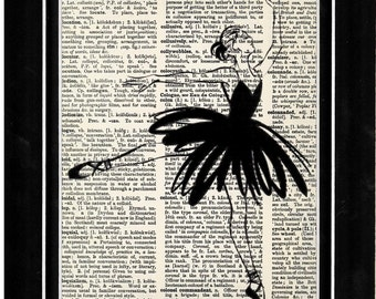 351 ballerina dancing  vintage upcycle vintage dictionary paper art