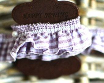Lilac trim I Gingham ribbon I Purple ruffled Ribbon I Ruffled elastic trim I Lilac ribbon I Purple check ribbon I Purple ruffled fabric