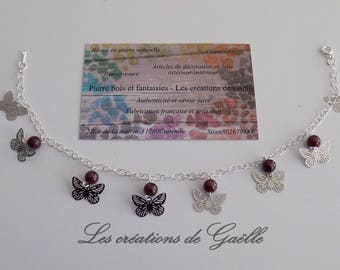 Anklet in 925 Silver and Garnet (natural stone)