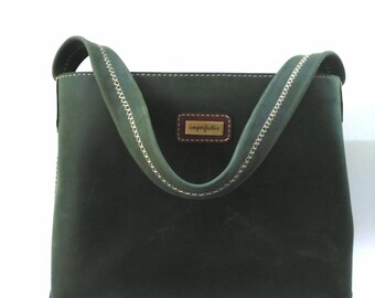 Dark Green Marbeled Leather Tote, leather bag.