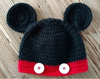 Crochet Mickey Mouse Baby Newborn Beanie Hat