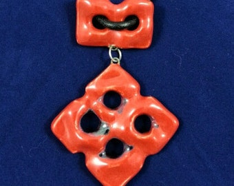 Unique Handmade Red Glazed Ceramic Pottery Pierced Pendant Necklace with Real Leather Cord.