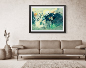 Abstract Print art, Abstract, Giclee Print, Green Abstract, Large Abstract Print, home decor, wall print, ZDQ-early summer