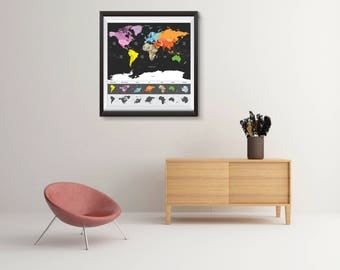 World Map, Travel, World, Map with time zone, Printable Map, World Map Wall Art, World Map Art, Travel Print, Printable World Map, Globe,WM3