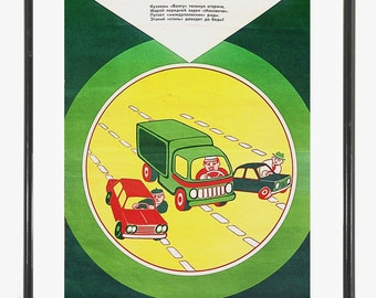 1979 soviet car poster | 70s original traffic rules poster with vehicles | vintage automobile poster