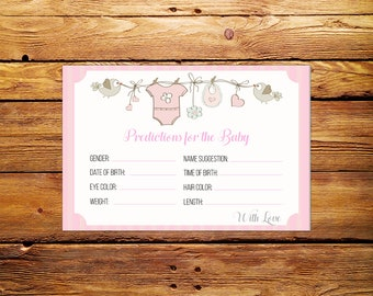 Baby Shower Predictions Card Printable,Baby Predictions Card Printable, Baby Shower Predictions,Printable Predictions for Baby