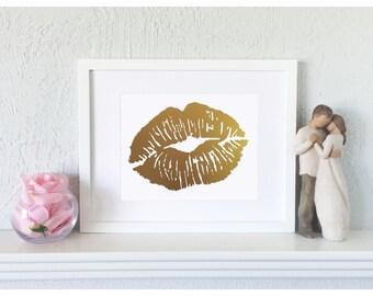 Vanity Wall Decor - Lip Fashion Print - Lip Print - Makeup Wall Art - Lip Fashion Art - Vanity Wall Art - Vanity Fashion Art - Kiss Art