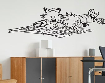 Calvin and Hobbes - Reading the Newspaper - Vinyl Wall Decal