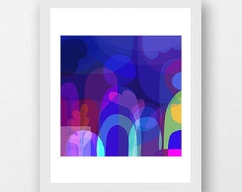 MOONLIGHT SHADOW II - Art Print A4 A3 - vibrant moonlit ethereal artwork, bringing joyful colour + dreaminess to your home