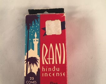 Rani Hindu Incense Vintage Cones Box with 31 cones 1974 states Pine Fragrance on box Mid Century Incense BOHO