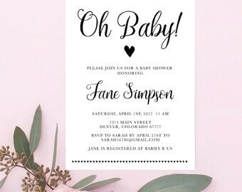 DIY PRINTABLE Oh Baby Baby Shower Invitation | Instant Download Baby Shower Printable | Rustic Baby Shower Invite Print on Kraft | OB14