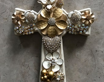 Gold and Ivory Jeweled Cross, Decorated Ceramic Cross