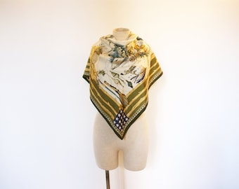 Vintage 90s Gigue Silk US Map & Nature Print Scarf
