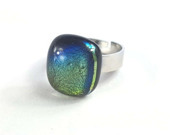 Blue and Green Glass Ring, Dichroic Fused Glass Ring, Stainless Steel Adjustable Ring, Handmade Glass Statement Ring, Gift Idea for Her