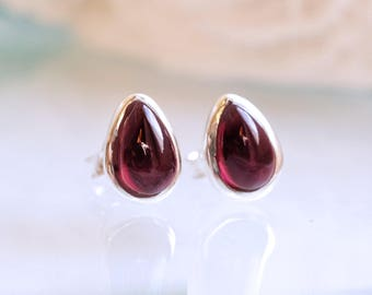 Red Garnet Earrings, January Birthstone Earrings, 925 Sterling Silver Earrings, Teardrop Pear Shape, Natural Gemstone Earrings, Silver Studs
