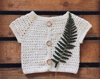 crochet wool eco-friendly unisex baby vest sleeveless natural wood buttons