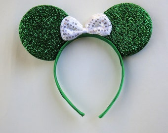 Minnie mouse ears-green glitter ears with white bow