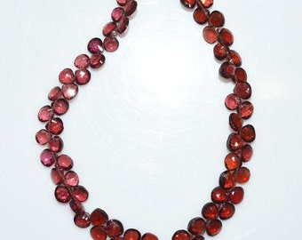 "1 Strand Natural Mozambique Garnet Heart Shape Beads - Mozambique Garnet Faceted Briolette , 4x4 - 6x6 mm , 8"" - BL1562"
