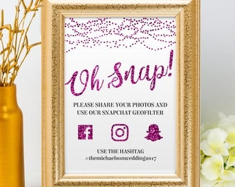 Printable Purple Glitter Look String Lights Social Media Wedding Event Hashtag Signs, 2 Sizes, Editable PDF, Instant Download
