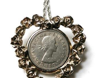 Vintage estate 1965 Six Pence Pendant Necklace