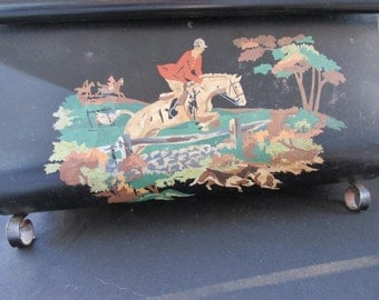 CLEARANCE Vintage Black Metal Magazine Holder, Organizer, English Hunting Scene Horse Jumping Fence  with Gold Scroll Work    468