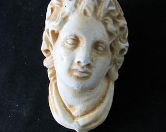 Vintage Plaster of Paris Greek Head for Hanging on Wall    839
