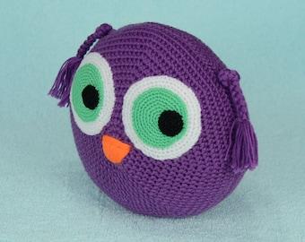 Owl Pillow, Mini Owl Cushion, Crochet Owl Pillow, Crochet Pillow, Crochet owl, small owl pillow, Decorative Pillow, pillow round, home decor