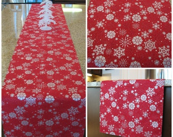 Christmas table runner, silver table runner, table overlay, short table runner, snowflake, holiday runner, Christmas decoration