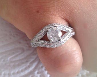 Certified 1.25 CT Round cut Diamond engagement Ring 14k white gold  hand made