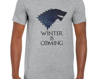 Winter is Coming shirt, Game of Thrones men t shirt, Grey and White
