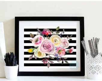 PRINTABLE Watercolor Floral Multi-Color Art Bathroom Decor Apartment Art Black Stripes Wedding Shower Birthday Gift Ideas Tropical Flowers